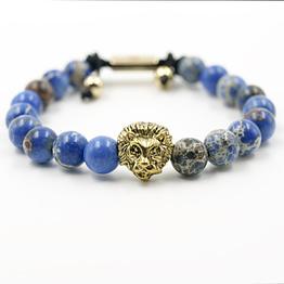 Löwenkopf Teenager Schmuck Armband Blauem Jaspis