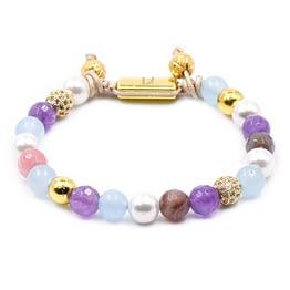Frauenarmband aus Perlen mit Kirschquarz, Aquamarin, Lavendelquarz und Amethyst