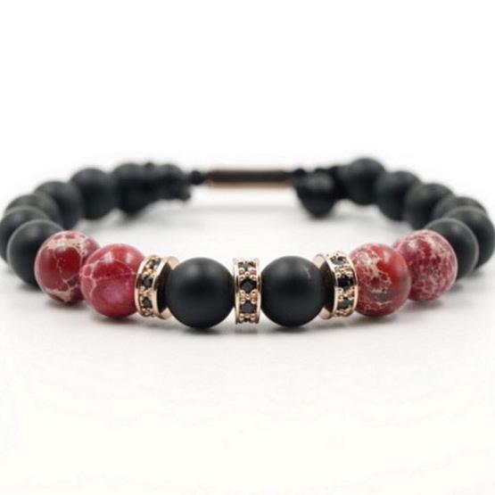 Perlenarmband aus Rotem Jaspis mit Schwarzem Onyx